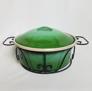 Vintage green ombre enamelware dutch oven